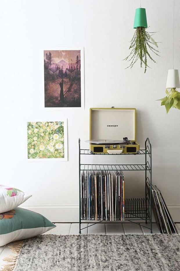 Disco de vinil na decoração, decoração vintage e retrô