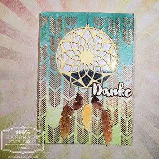 Danke karte mit Marianne Design Traumfänger und MFT Arrows End Background Stamp2