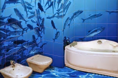 3D designs for bathroom walls and floors with wall murals