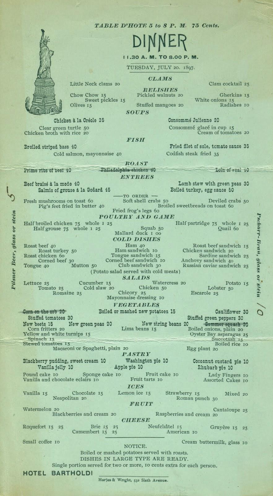 Vintage Restaurant Menu 108