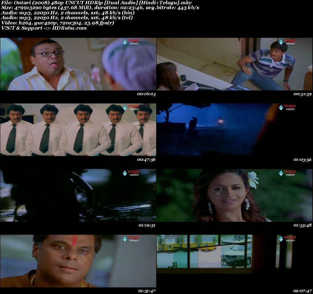 Ontari (2008) 480p UNCUT HDRip [Dual Audio] [Hindi+Telugu], Ek Aur Khal Nayak Hindi Dubbed Movie Download