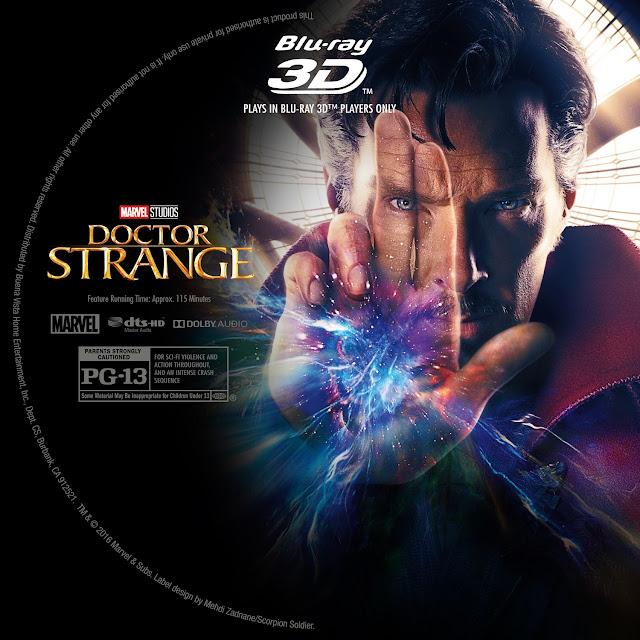 Doctor Strange 3D Bluray Label