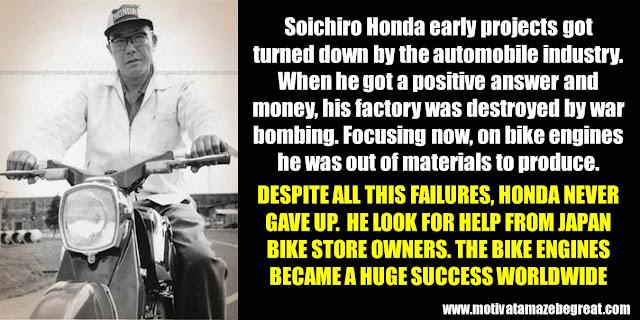 Successful People Who Failed: Soichiro Honda, Success story, Bike engines, Honda, Japan, World War