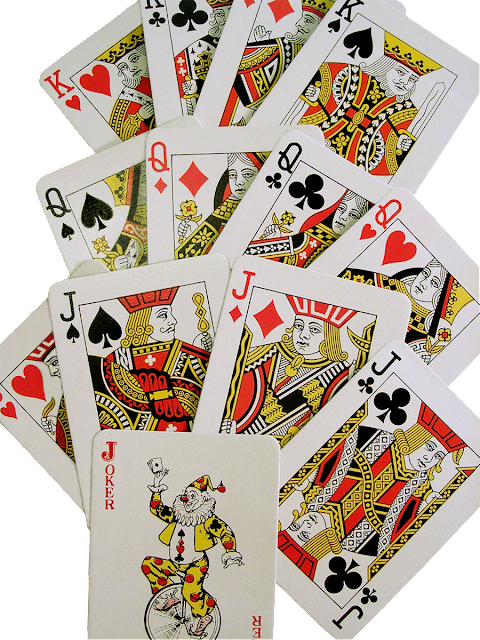 "A partial set of playing cards showing the ""face"" cards, like King, Queen, Jack, Ace, and the Jokers."