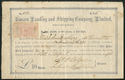 early share in the Timaru Landing and Shipping Company, 1868