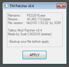 PES 2016 new version TM Patcher v0.4 by sxsxsx
