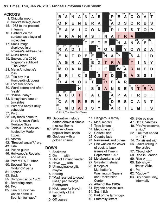 The New York Times Crossword in Gothic: 01.24.13 — TRA
