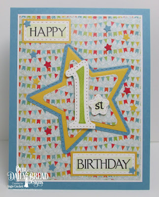 Our Daily Bread Designs Stamp Set: Celebration: Custom Dies: Large Numbers, Sparkling Stars, Double Stitched Stars, Stitched Rectangles, Paper Collections: Birthday Bash, Birthday Brights