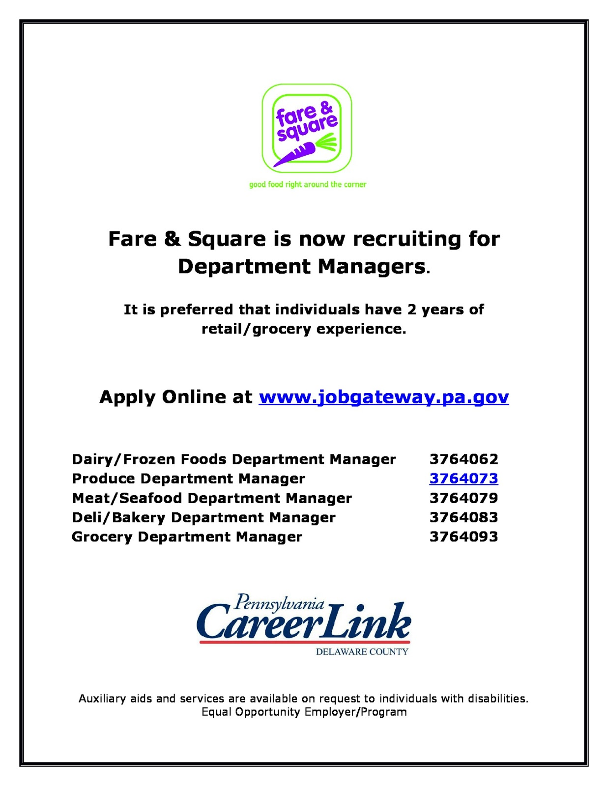 fresh start outreach ministry job posting fare and square
