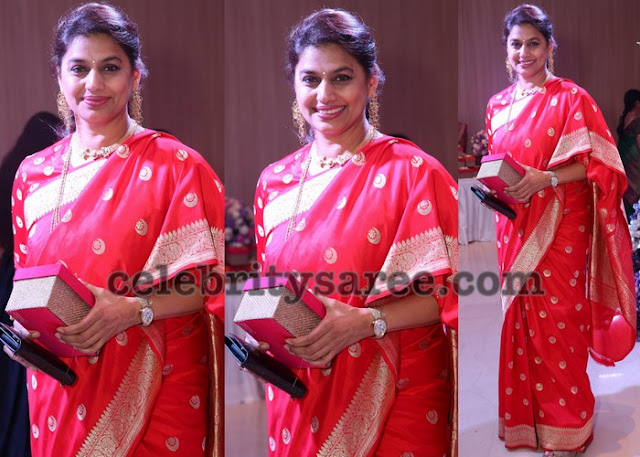 Pinky Reddy in Pink Pythani Border Saree