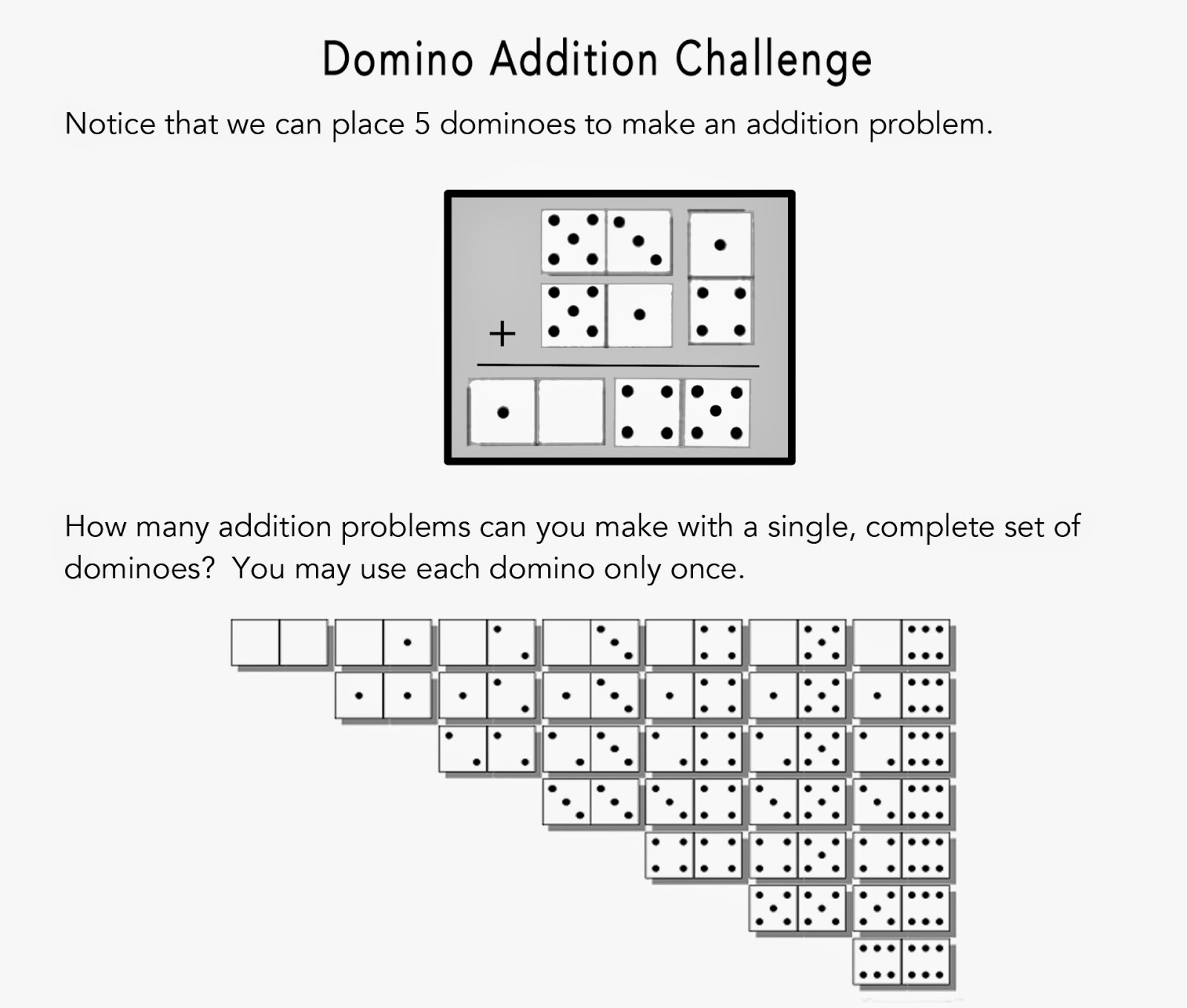 Math Problems Domino Addition Challenge