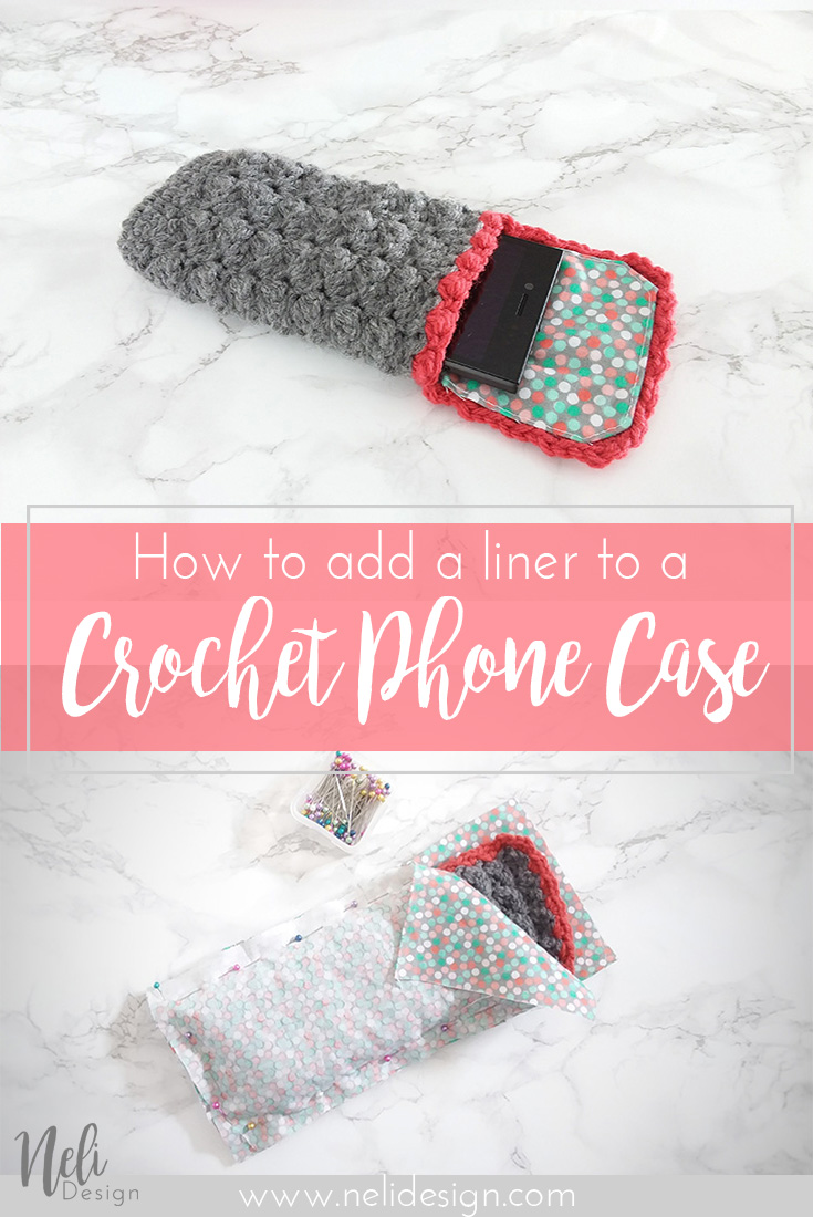 How to add a liner to a crochet phone case turorial, DIY
