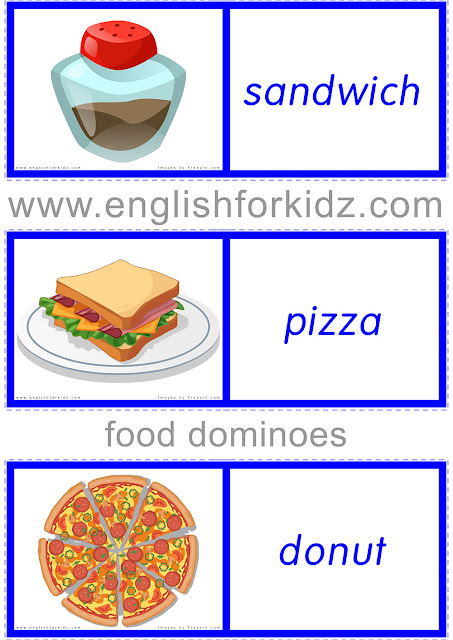 Printable domino game for the topic of food
