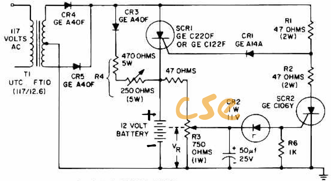 scr battery charger schematic