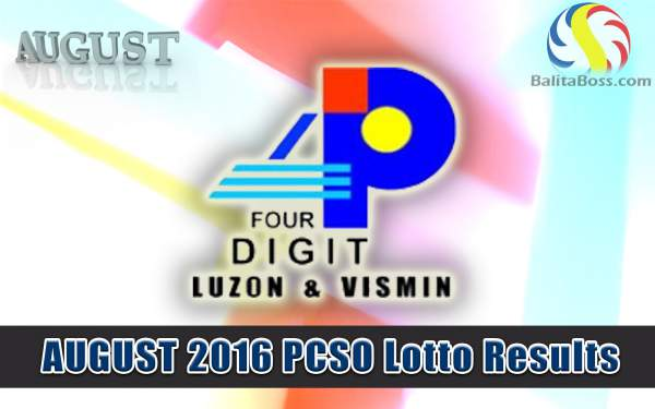 August 2016 4-Digit PCSO Lotto Results