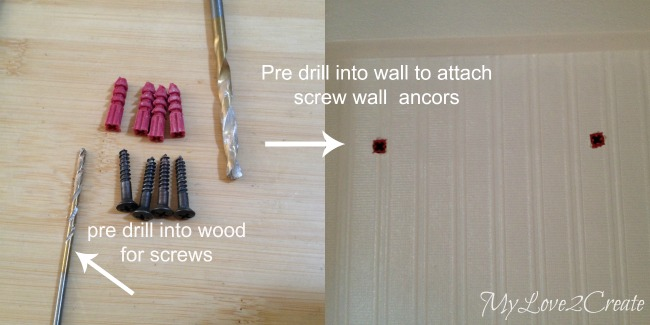pre drill holes in wood and wall for attaching screw wall anchors