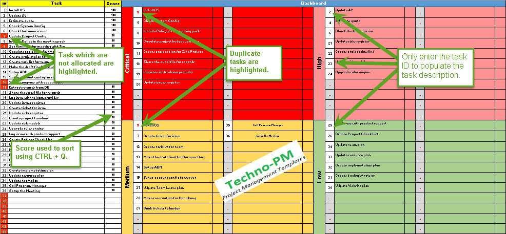 Prioritization matrix template excel set task and for Prioritizing tasks template