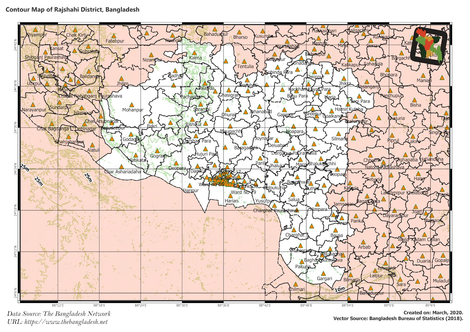 Elevation Map of Rajshahi District of Bangladesh