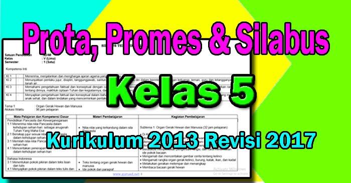 Silabus, Promes dan Prota Kelas 5 K13 Revisi 2017