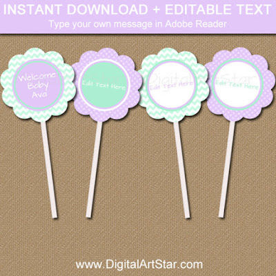 girl baby shower cupcake topper template in mint and lavender