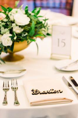 Set table at wedding reception