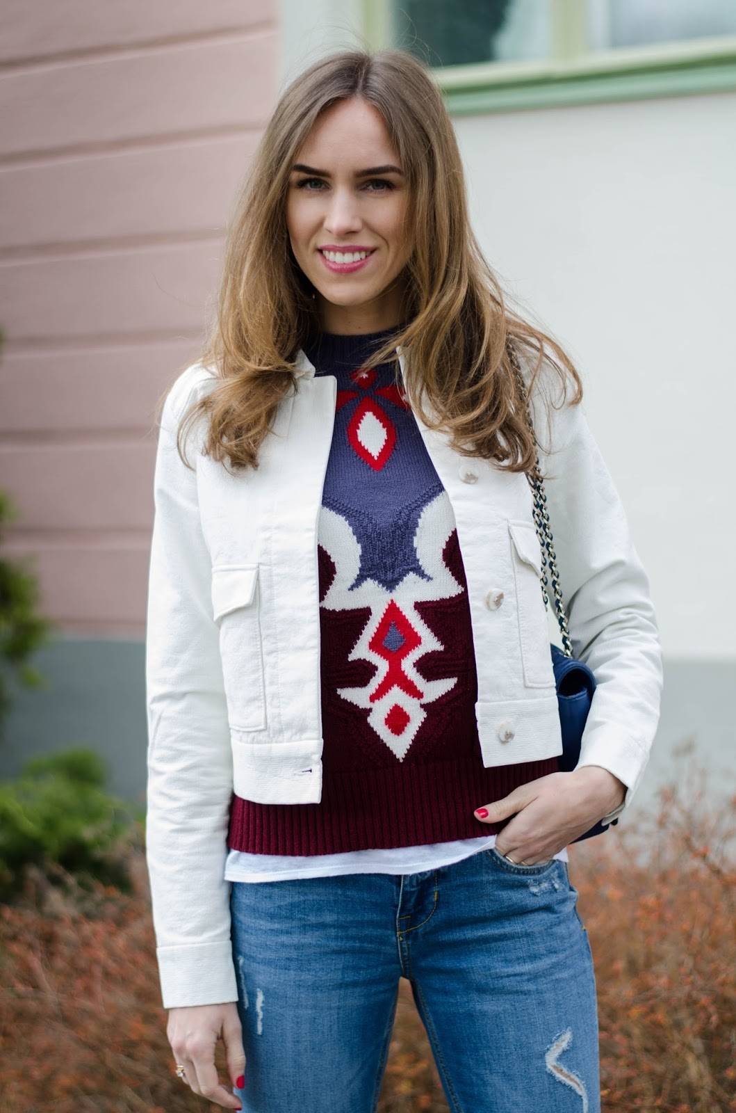 kristjaana mere white denim jacket patterned sweater
