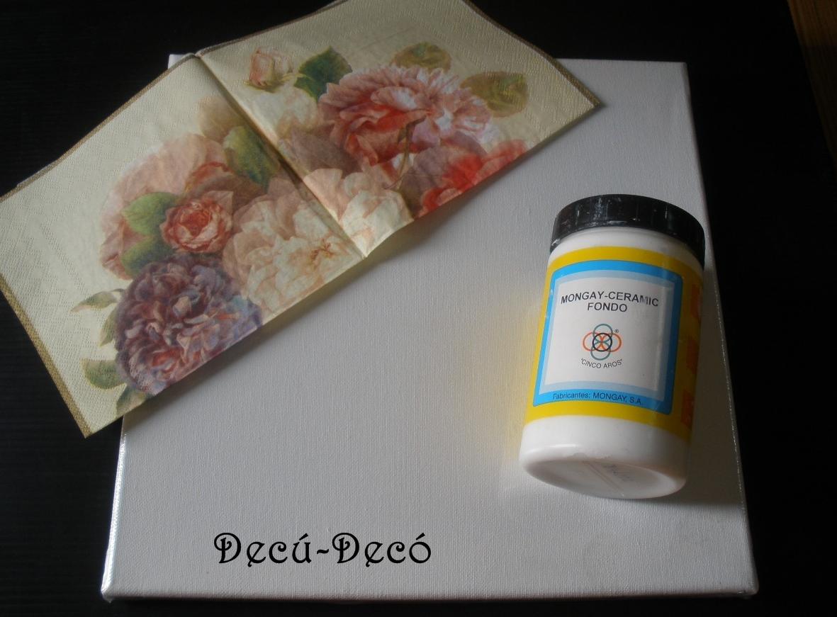 El rinc n del decoupage cuadro craquelado con servilleta - Como enmarcar un lienzo ...