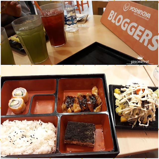 yoshinoya Chicken Karaage, Kani Salad, green and red tea, tiramisu and my favorite California Maki!