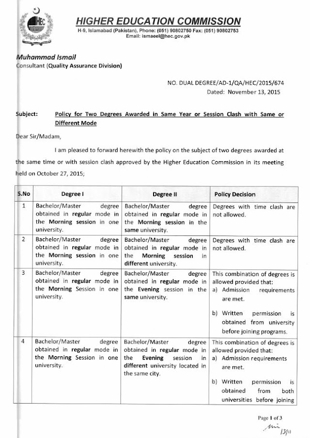 POLICY REGARDING TWO DEGREES AWARDED IN SAME YEAR OR SESSION CLASH WITH SAME OR DIFFERENT MODE BY HIGHER EDUCATION COMMISSION