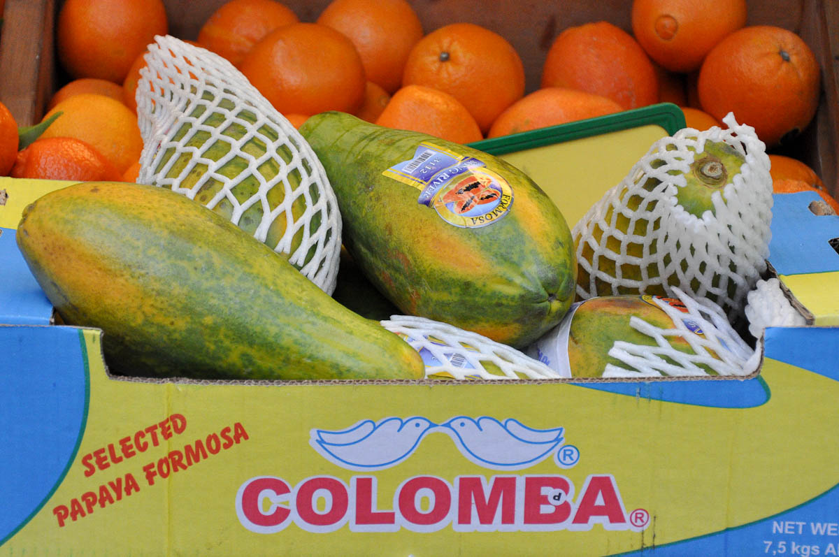 Crate with papaya, Chinese supermarket See-Woo, Chinatown, London, England