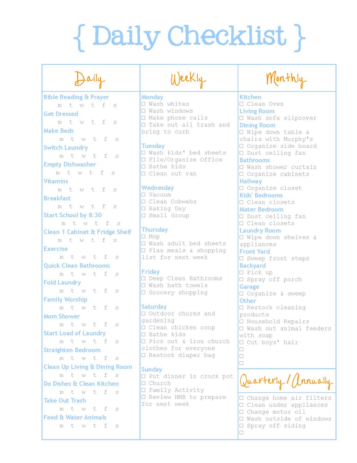 Daily Checklist For Frame Organizer