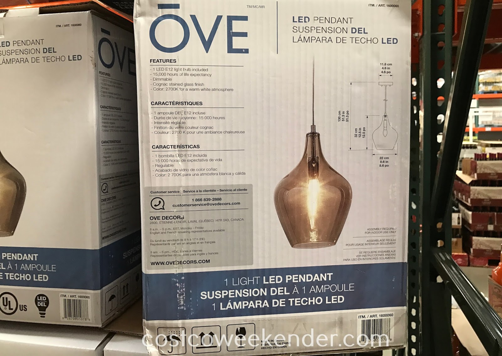 Costco 1600060 - Ove Decors LED Pendant Light: chic for a more modern look