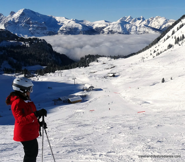 Skiing Flaine: View of the Slopes / Pistes from the Chairlift