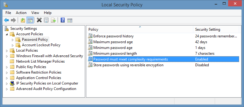 Screenshot of Password must meet complexity requirements policy