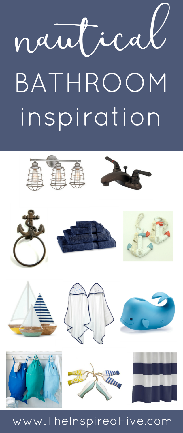 Tons of ideas for a combined kids and guest bathroom with a nautical theme.