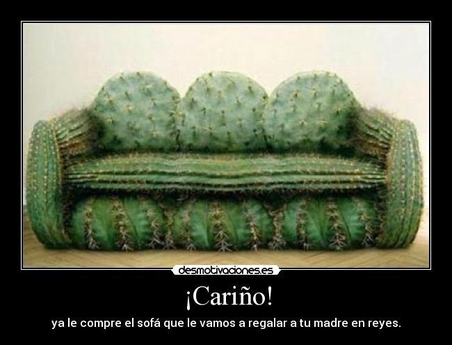Cariño, ya le compré el sofá que le vamos a regalar a tu madre en reyes (sofá hecho con cactus)