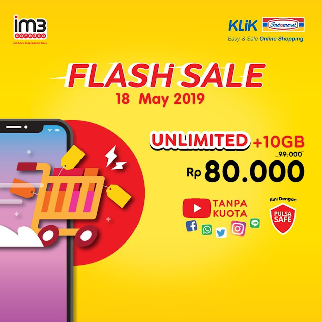 #KlikIndomaret - #Promo Flash Sale IM3 Unlimited + 10 GB Hanya 80K (18 Mei 2019)