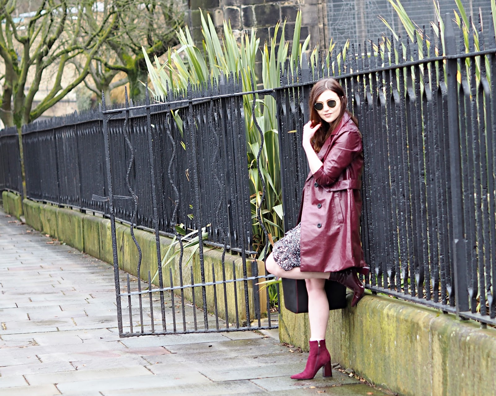 burgundy vinyl trench coat