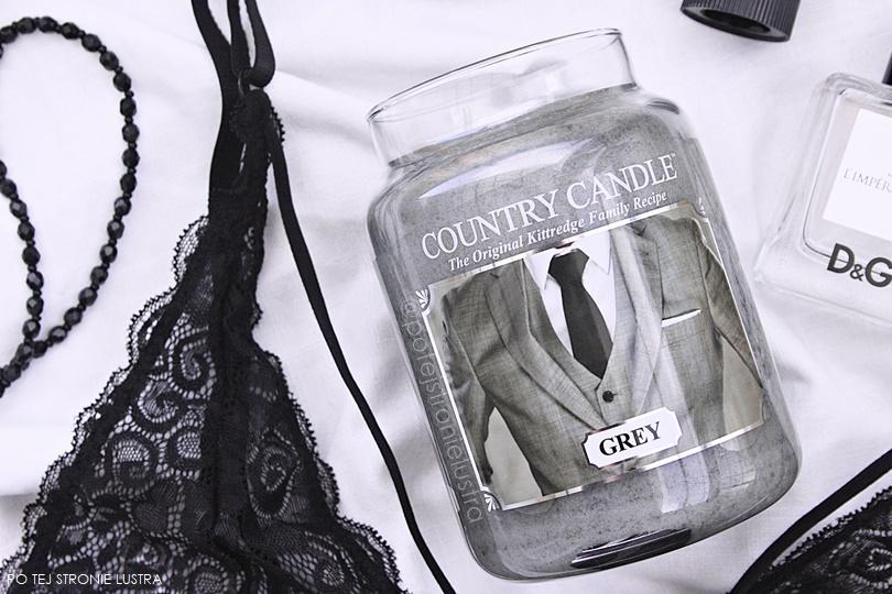 świeca country candle grey, koronkowy biustonisz i perfumy d&g l'imperatrice