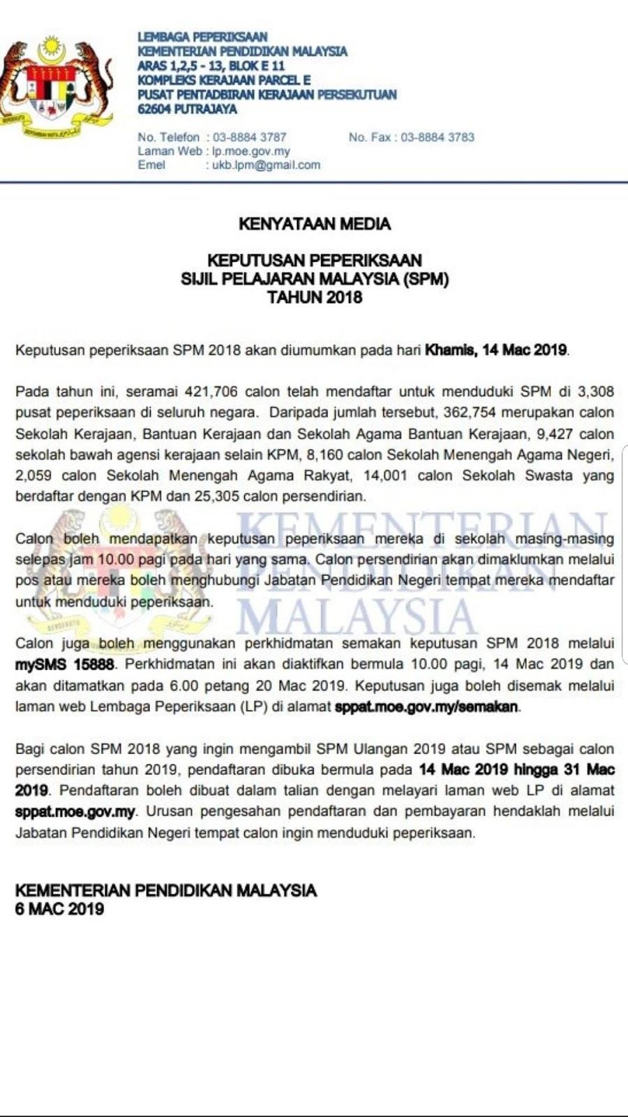 Jommasukipt 14 Mac 2019 Tarikh Keramat Utk Lepasan Spm 2018