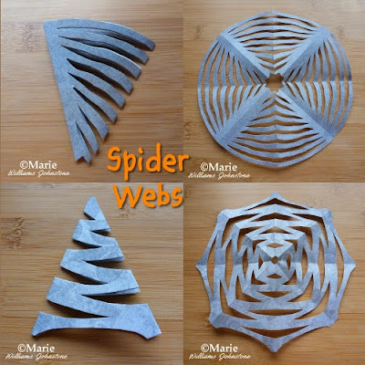 Examples of web shapes cut from gray craft sheets