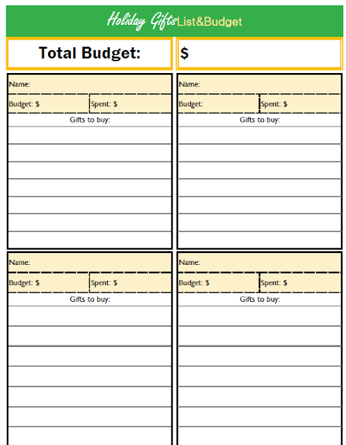 Christmas shopping free printable budget