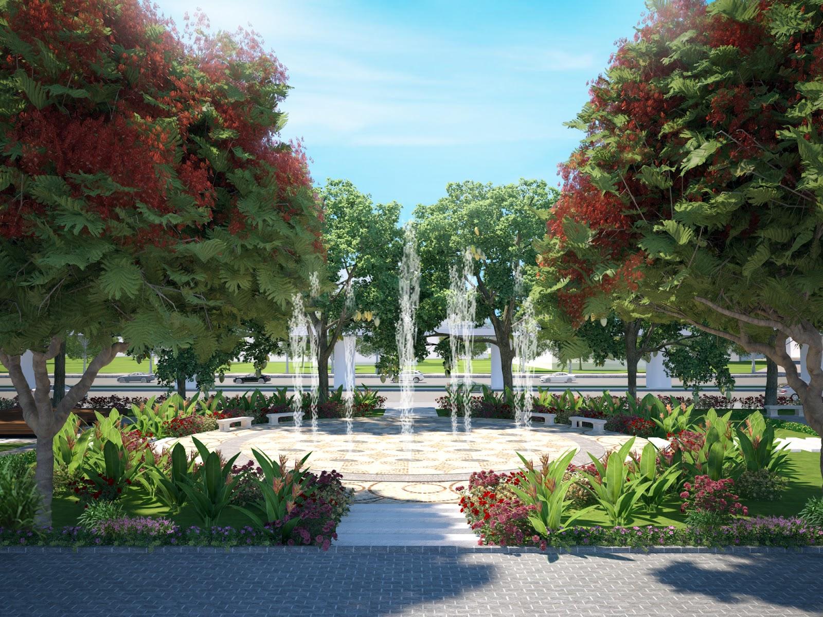 Đài phun nước ở quảng trường trung tâm dự án