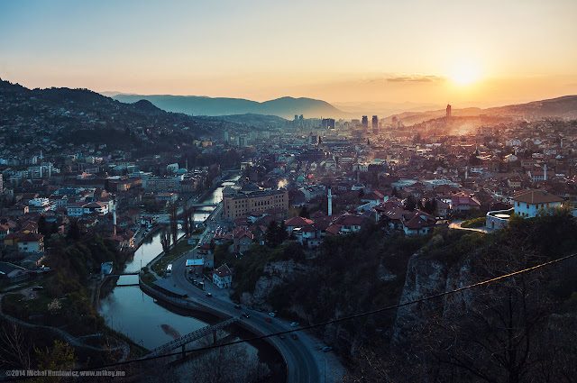 evening view of the city of Sarajevo