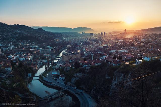 evening view of the city of Sarajevo