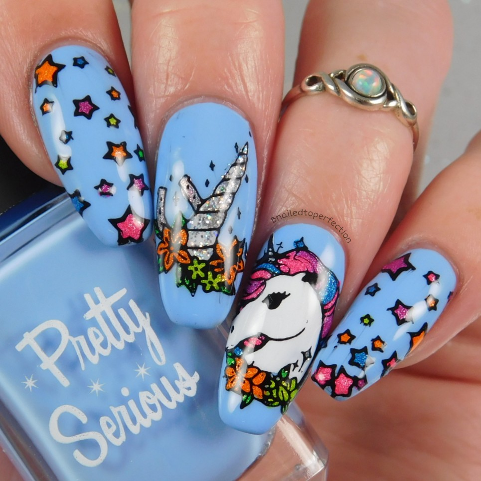 I Used The Stunning Can T Take Sky From Pretty Serious As Base And Then Bbf Nail Custom Unicorn Plate For Stamping