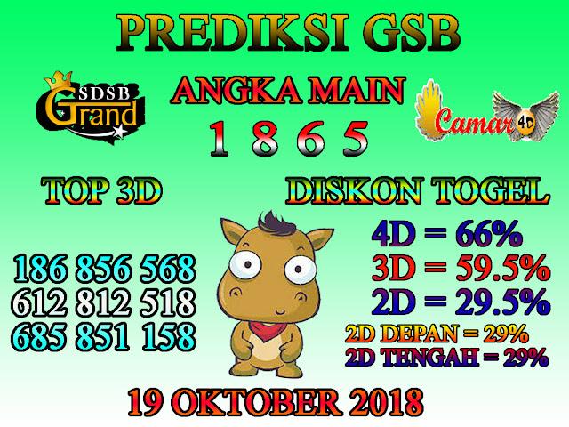 Prediksi Togel GSB 19 Oktober 2018
