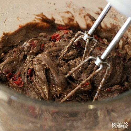 Chocolate Cherry Cake by Renee's Kitchen Adventures batter with mixer
