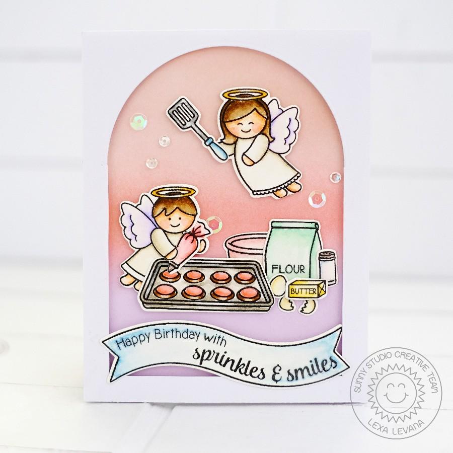 Sunny Studio Little Baker Angels Card With Lexa