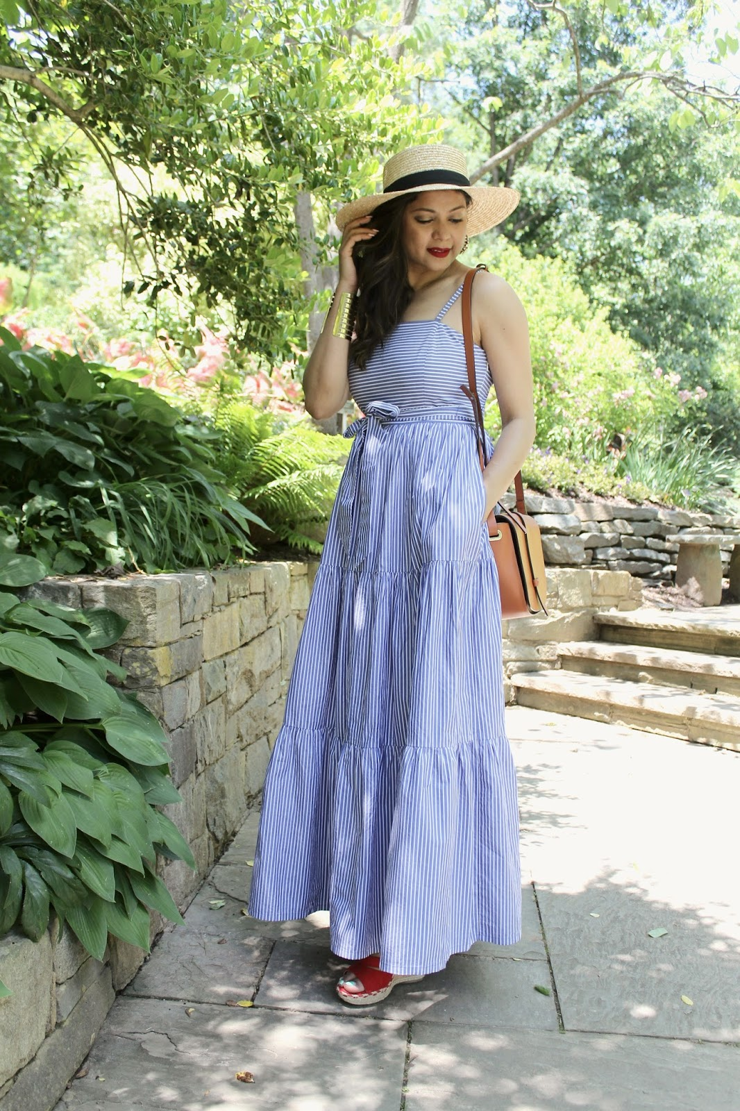 how to wear red, white & blue, maxi stripe dress, J crew maxi dress, red wedges, 4th july outfit, sailor hat, straw hat, street style, fashion blogger, style, ootd, saumya, summer style